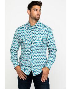 Rock & Roll Cowboy Men's Ombre Arrow Print Long Sleeve Western Shirt , Teal, hi-res