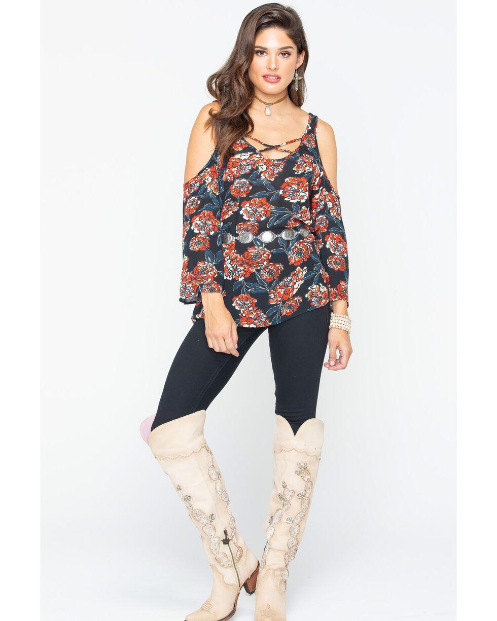 Shyanne Women's Floral Cold Shoulder Bell Sleeve Shirt, Black, hi-res