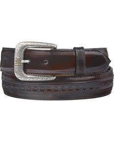 Lucchese Men's Black Cherry Goatskin Leather Belt, Black Cherry, hi-res