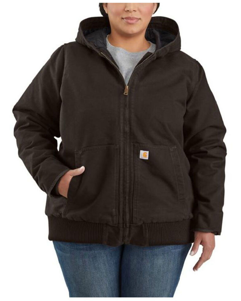 Carhartt Women's Dark Brown Washed Duck Active Jacket - Plus , Dark Brown, hi-res