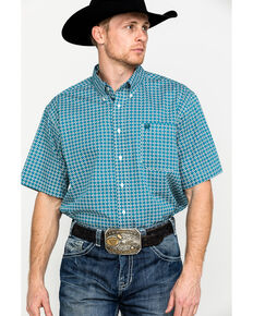 Cinch Men's Multi Color Square Geo Print Short Sleeve Western Shirt , Multi, hi-res