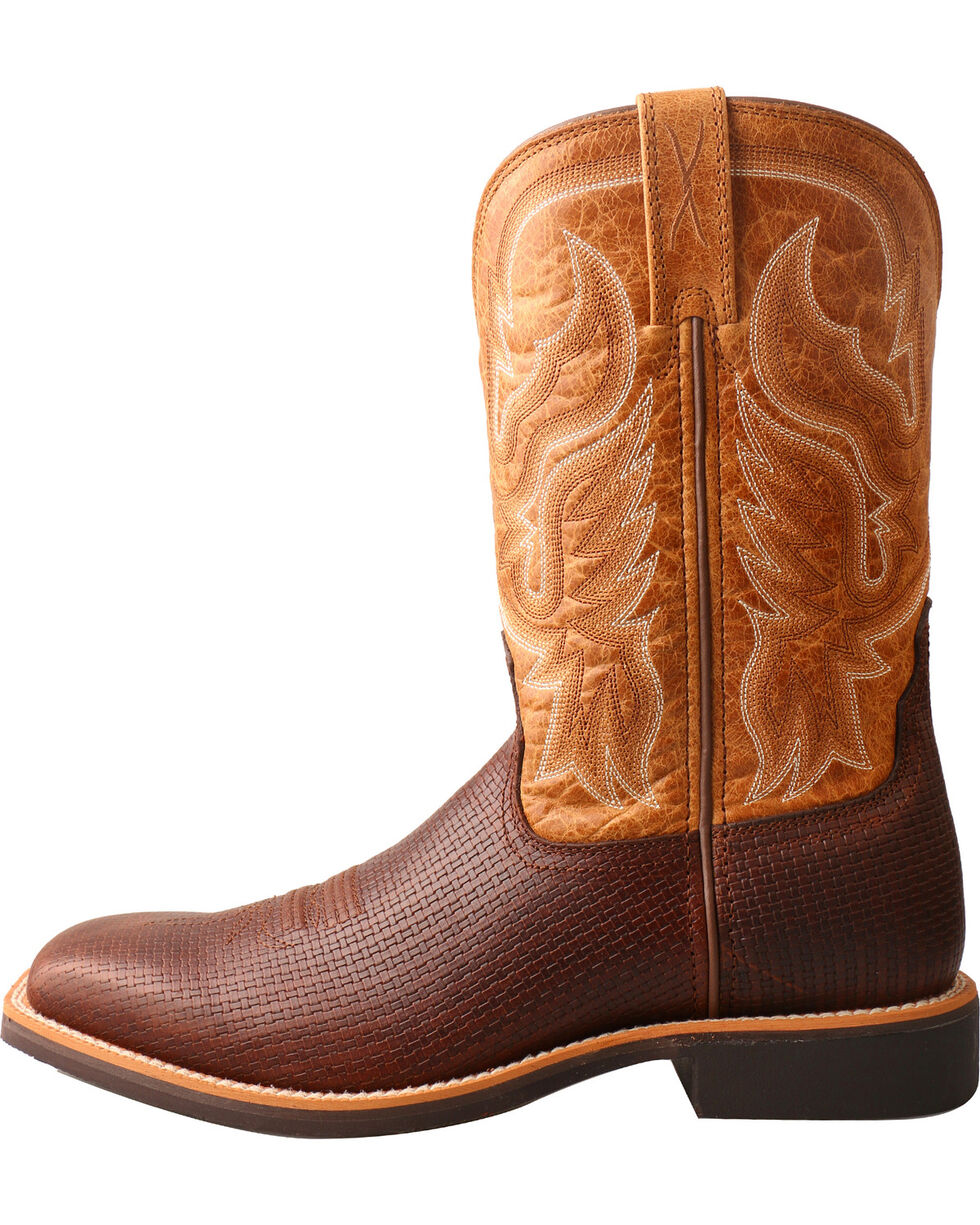 Twisted X Men's Top Hand Basketweave Cowboy Boots - Square Toe, Multi, hi-res