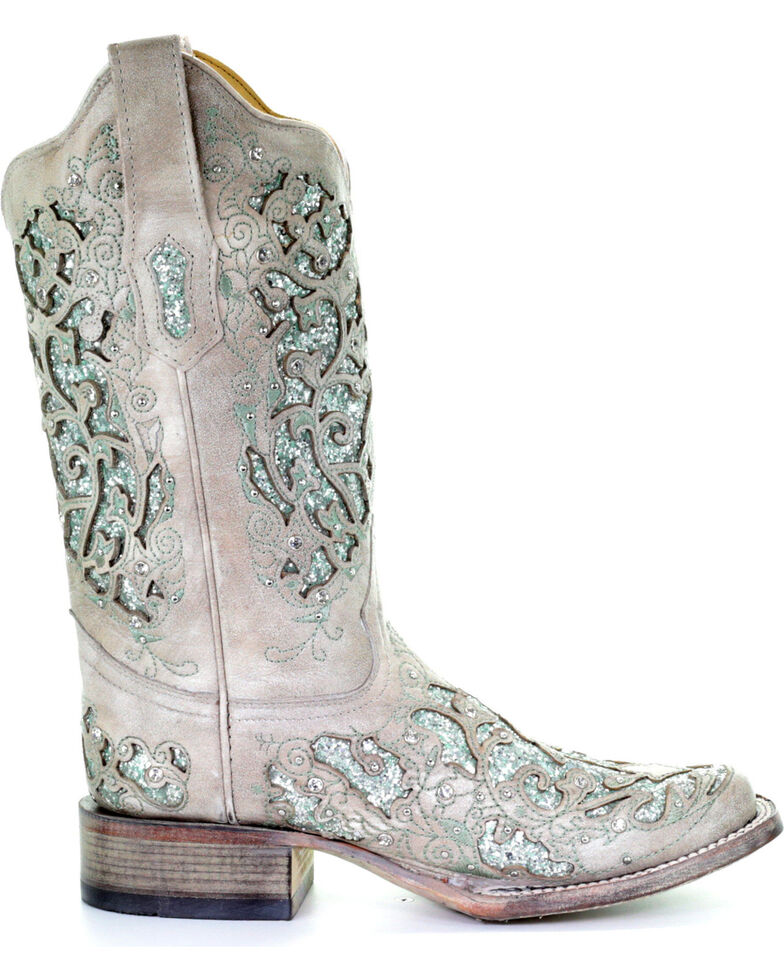 af718afe2c3 Corral Women's Glitter & Crystals Cowgirl Boots - Square Toe