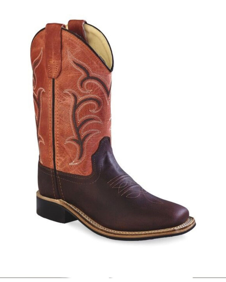 Old West Boys' Red Western Boots - Wide Square Toe, Red, hi-res