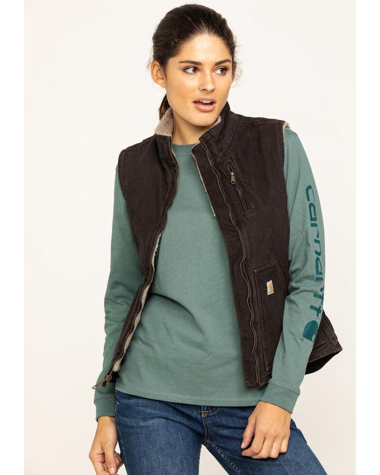 Carhartt Women s Sandstone Mock- Neck Sherpa Lined Vest  a6a5e937d