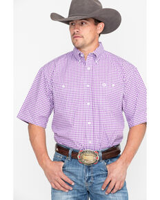 George Strait by Wrangler Men's Purple Check Plaid Short Sleeve Western Shirt, Purple, hi-res