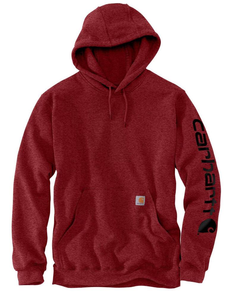 Carhartt Men's Dark Red Midweight Signature Sleeve Logo Hooded Work Sweatshirt - Big , Dark Red, hi-res