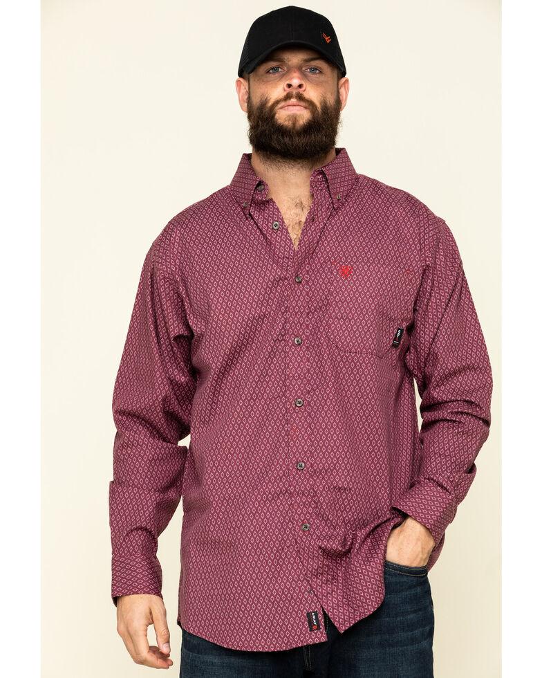 Ariat Men's FR Abbott Geo Print Durastretch Long Sleeve Work Shirt - Tall , Red, hi-res