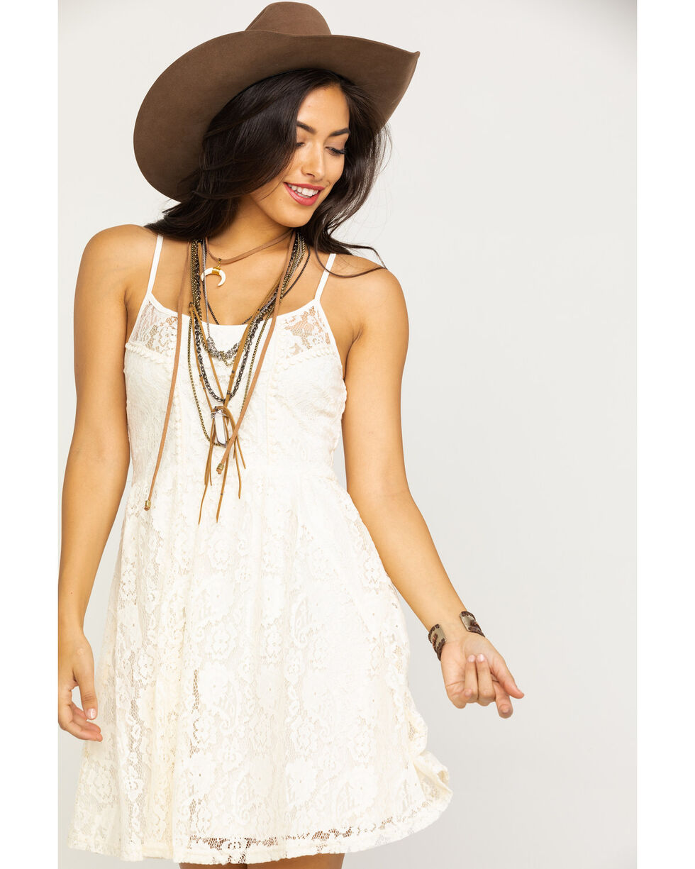 Angie Women's Lace Fit & Flare Dress, Ivory, hi-res