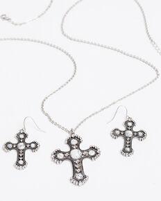 Shyanne Women's Bella White Howlite Cross Necklace Set, Silver, hi-res