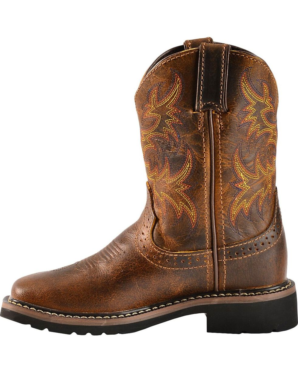 Justin Boys' Stampede Work Boots - Square Toe, Tan, hi-res