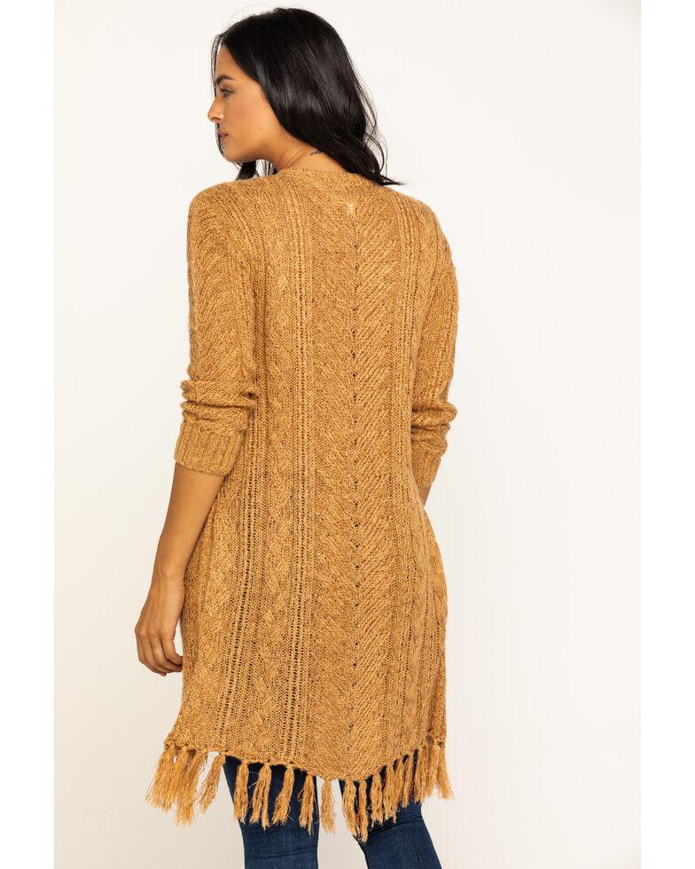 Idyllwind Women's Sunset Wrap Fringe Sweater, Gold, hi-res