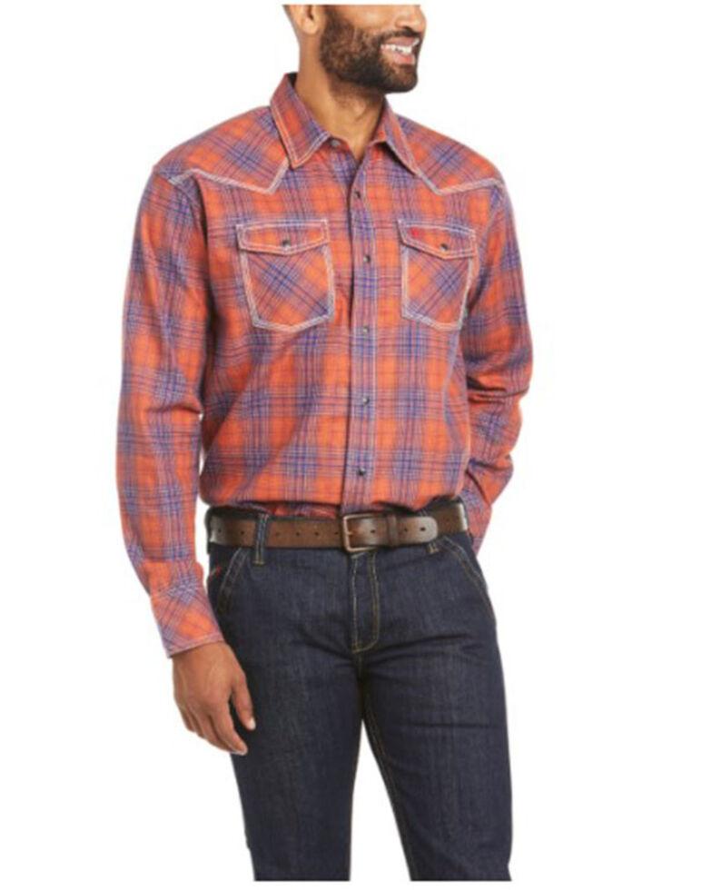 Ariat Men's FR Bronson Retro Plaid Long Sleeve Snap Work Shirt - Big , Multi, hi-res