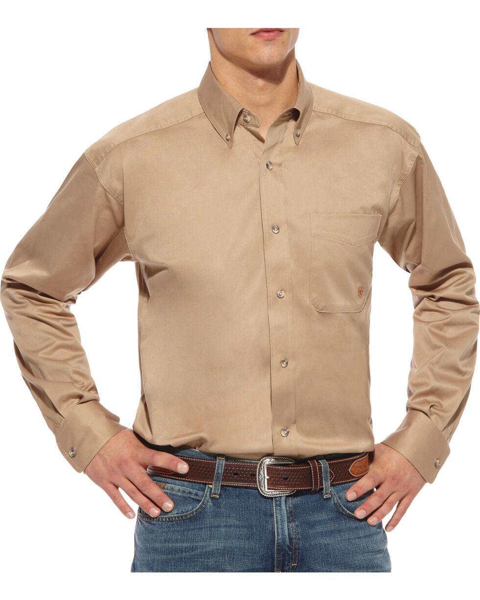 Ariat Khaki Twill Cowboy Shirt - Big & Tall, Khaki, hi-res