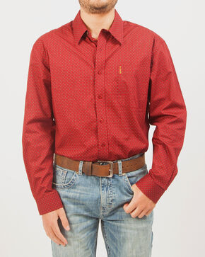 Cinch Men's Patterned Long Sleeve Shirt , Red, hi-res