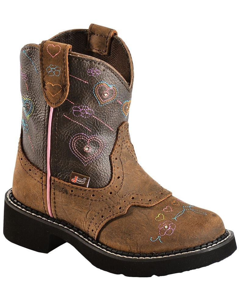 Justin Kid's Gypsy Heart Western Boots, Brown, hi-res