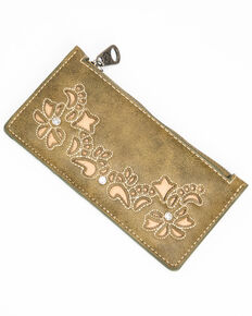 Shyanne Women's Olive Embroidered Slim Wallet, Olive, hi-res