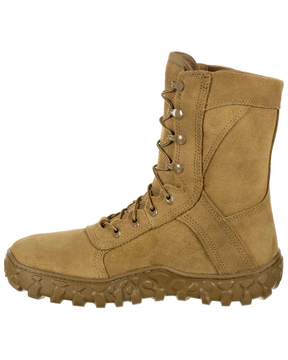Rocky Men's Full-Grain Leather Tactical Military Boots - Round Toe, Taupe, hi-res