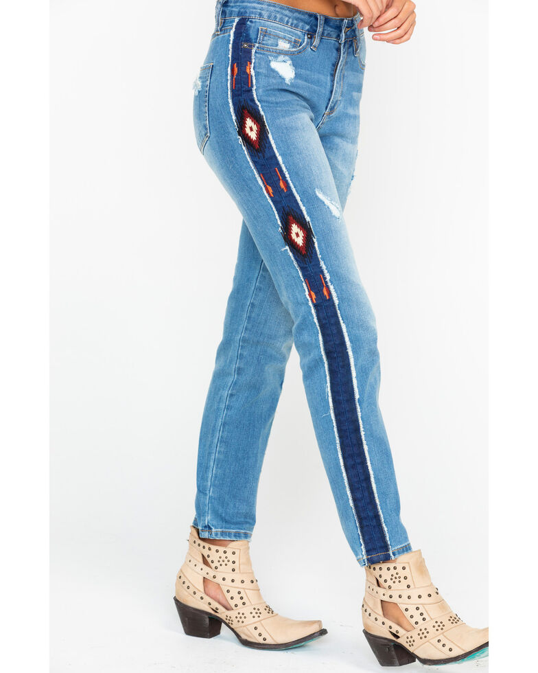 Grace In LA Women's Aztec Stripe Girlfriend Tapered Jeans , Indigo, hi-res