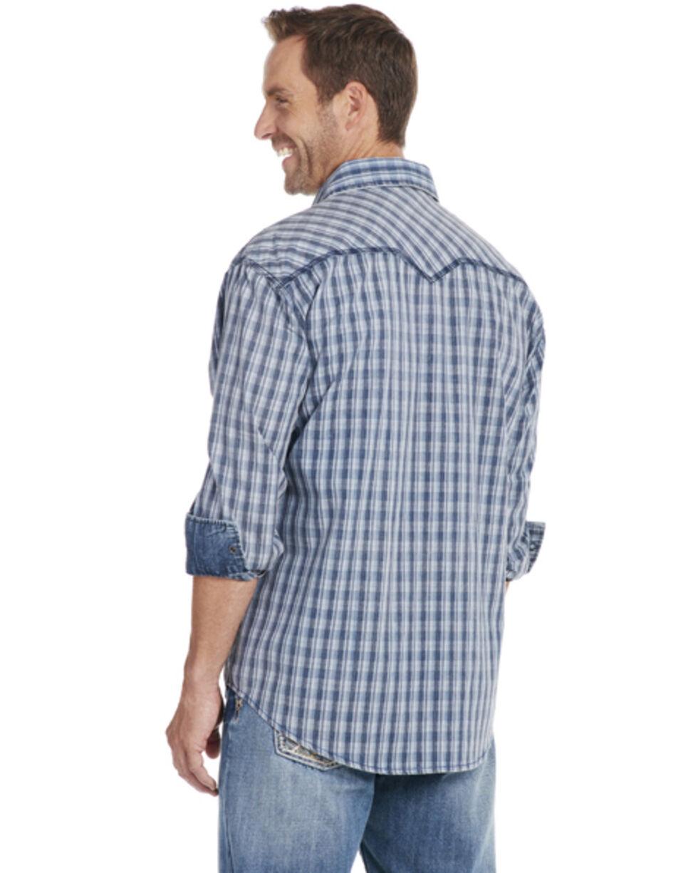 Cowboy Up Men's Blue Plaid Long Sleeve Snap Vintage Shirt, Blue, hi-res