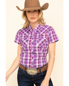 Cumberland Outfitters Women's Teal Plaid Short Sleeve Western Top , Purple, hi-res
