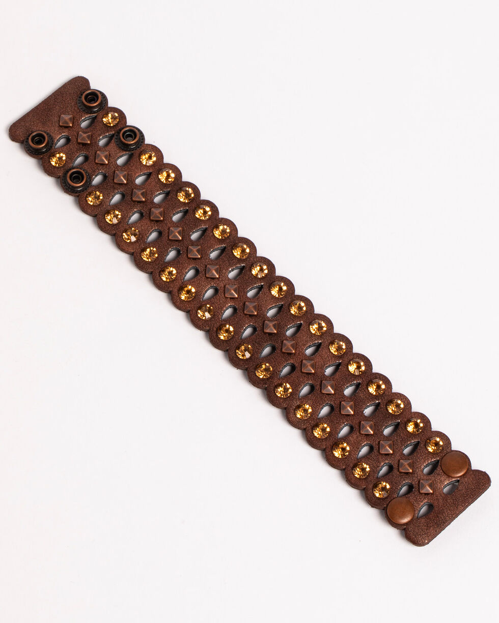 Shyanne Women's Laser Cut Bronze Stud Cuff Bracelet, Brown, hi-res