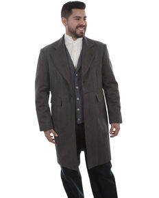 Scully Men's Leather Old West Black Striped Frock Coat, Black, hi-res
