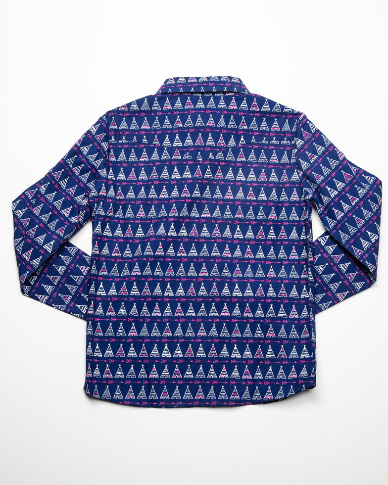 White Label by Panhandle Girls' Navy Teepee Print Long Sleeve Western Shirt, Navy, hi-res