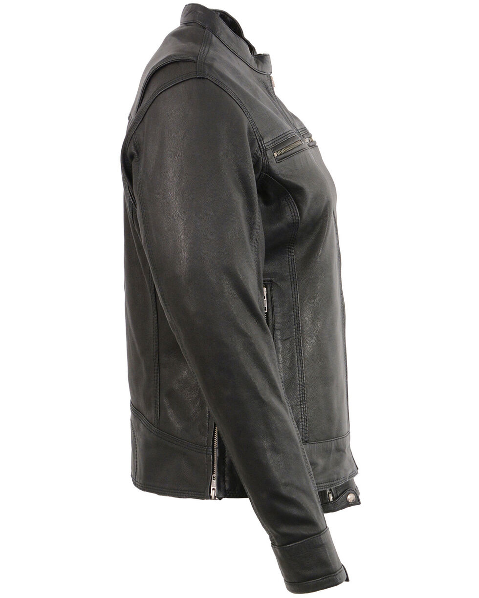 Milwaukee Leather Women's Lightweight Triple Stitch Vented Scooter Jacket - 5X, Black, hi-res