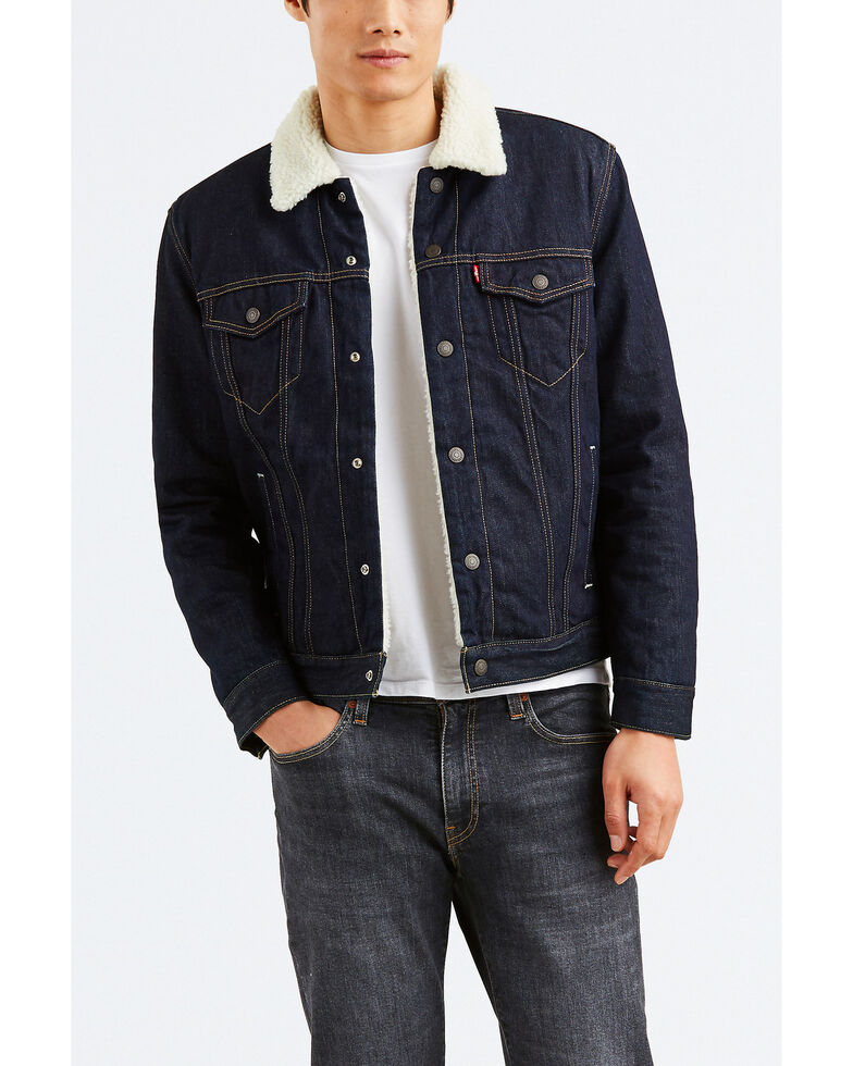 Levi's Men's Juniper Sherpa Lined Trucker Denim Jacket , Dark Blue, hi-res