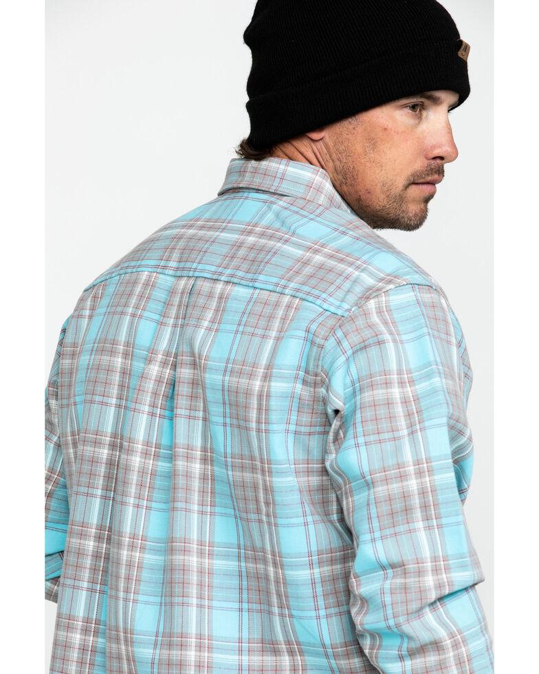 Wrangler Men's Flame-Resistant Plaid Long Sleeve Woven Work Shirt , Turquoise, hi-res