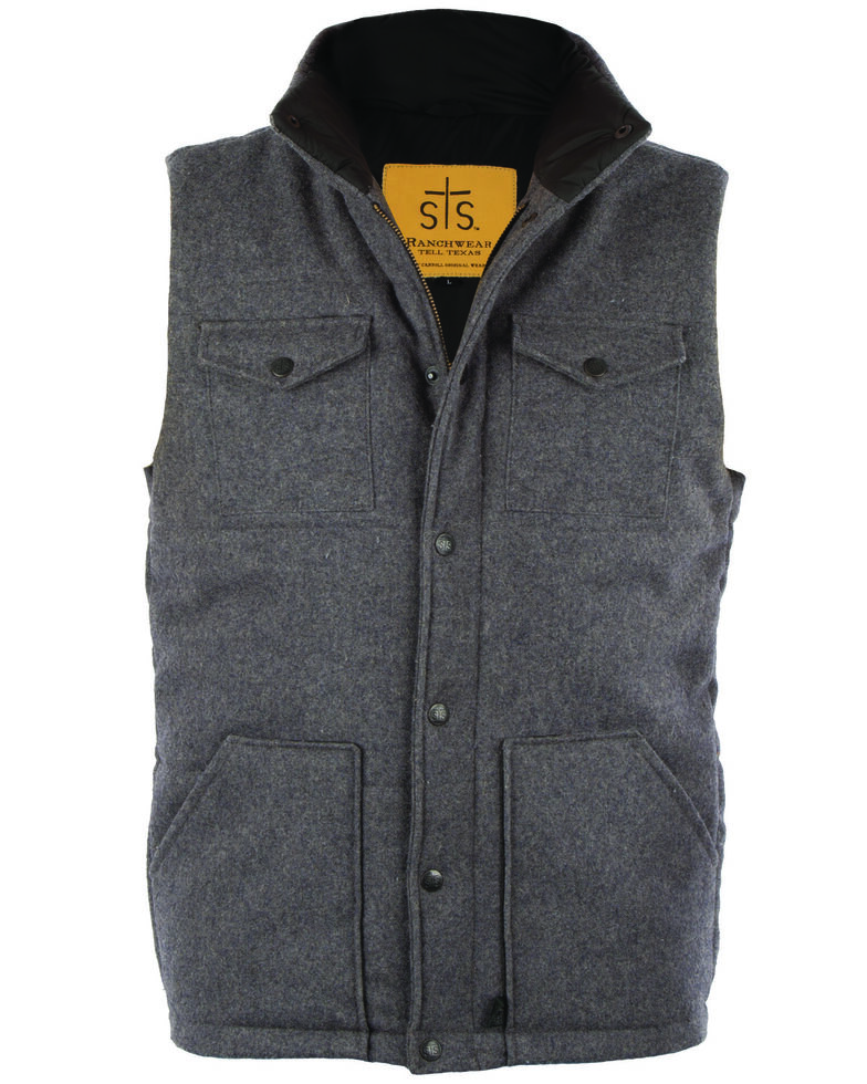 STS Ranchwear Men's Grey Bodie Wool Vest , Grey, hi-res