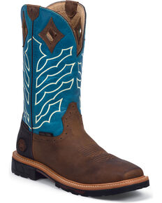 Justin Men's Wyoming Square Steel Toe Hybred Waterproof Work Boots, Peanut, hi-res