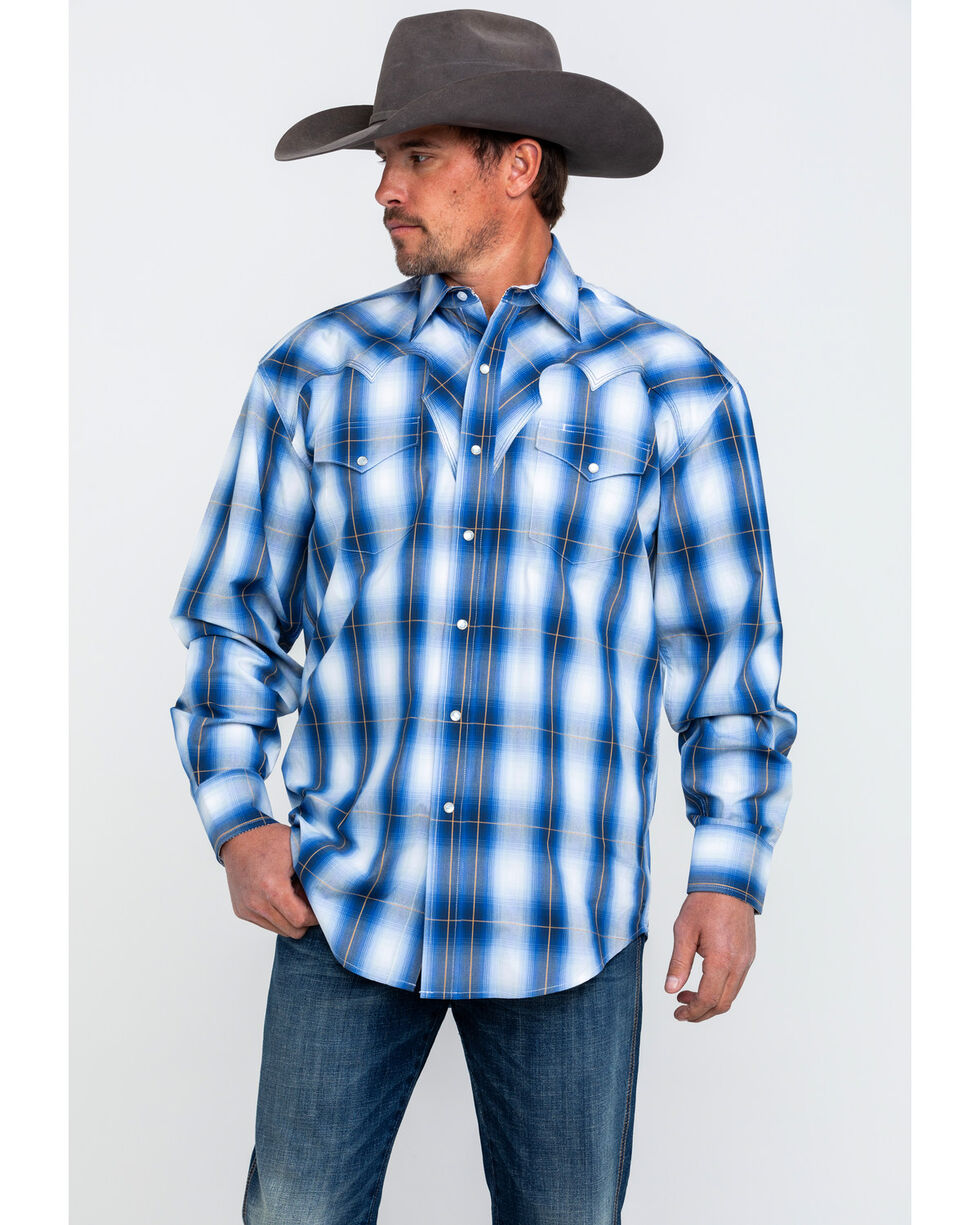 Stetson Men's Blue Large Plaid Long Sleeve Western Shirt , Blue, hi-res