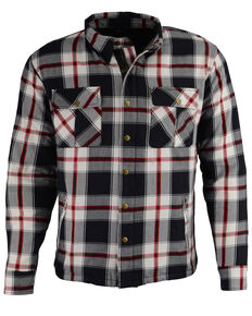 Milwaukee Performance Men's Black/White/Red Aramid Flannel Biker Jacket - 3X, Black/red, hi-res