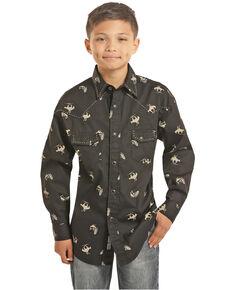 Rock & Roll Cowboy Boys' Bucking Horses Print Long Sleeve Western Shirt , Black, hi-res