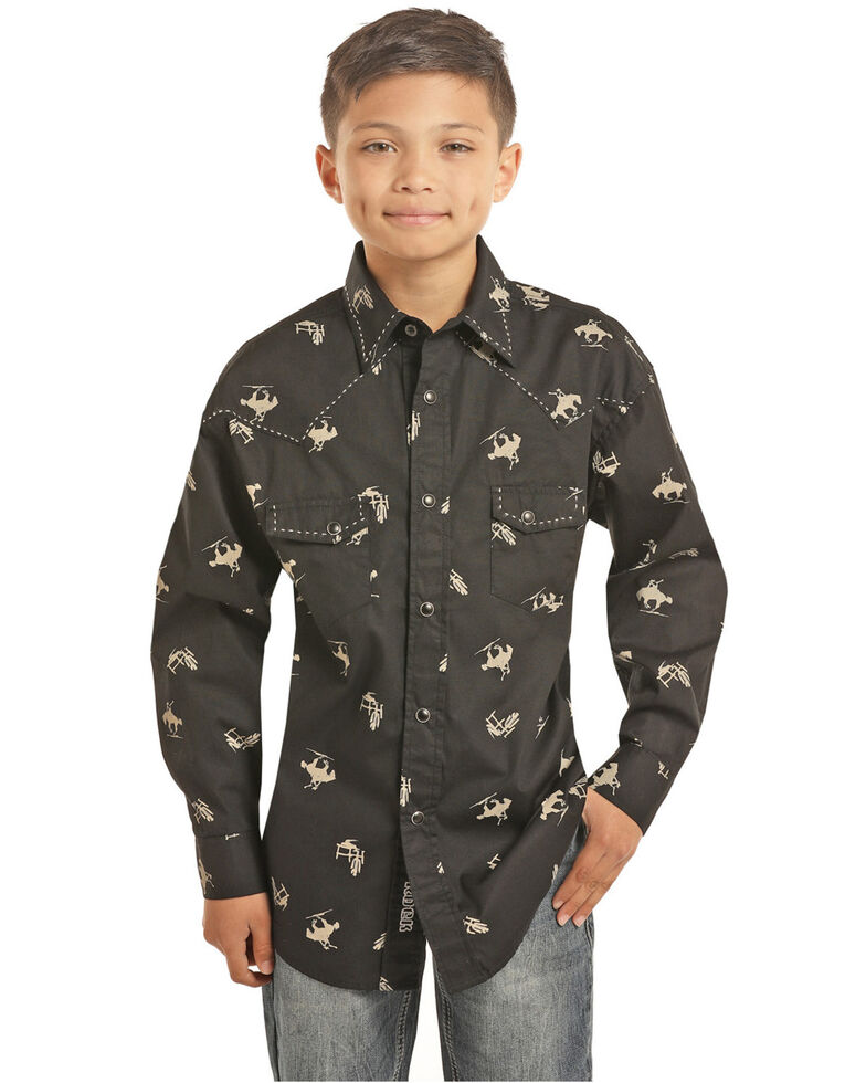 Rock & Roll Cowboy Boys' Bucking Horses Print Long Sleeve Western Shirt , Black, hi-res