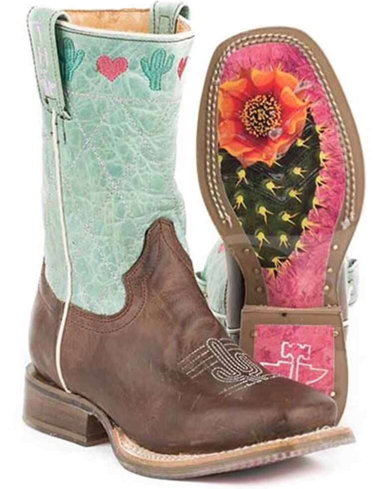 Tin Haul Girls' I Love Cactus Western Boots - Square Toe, Brown, hi-res