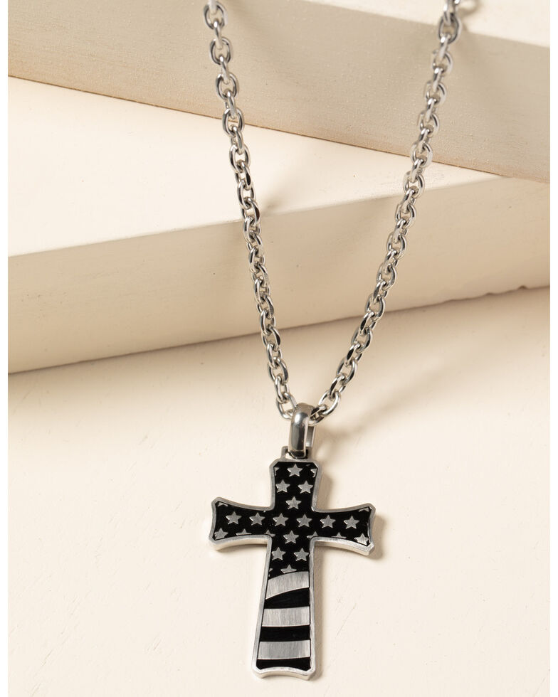 Cody James Men's Stainless Flag Cross, Silver, hi-res