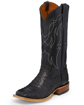 Tony Lama Women's Black Exotic Caiman Western Boots - Square Toe, Black, hi-res
