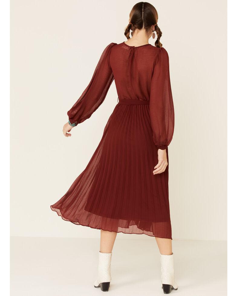 Very J Women's Pleated Midi Dress, Red, hi-res