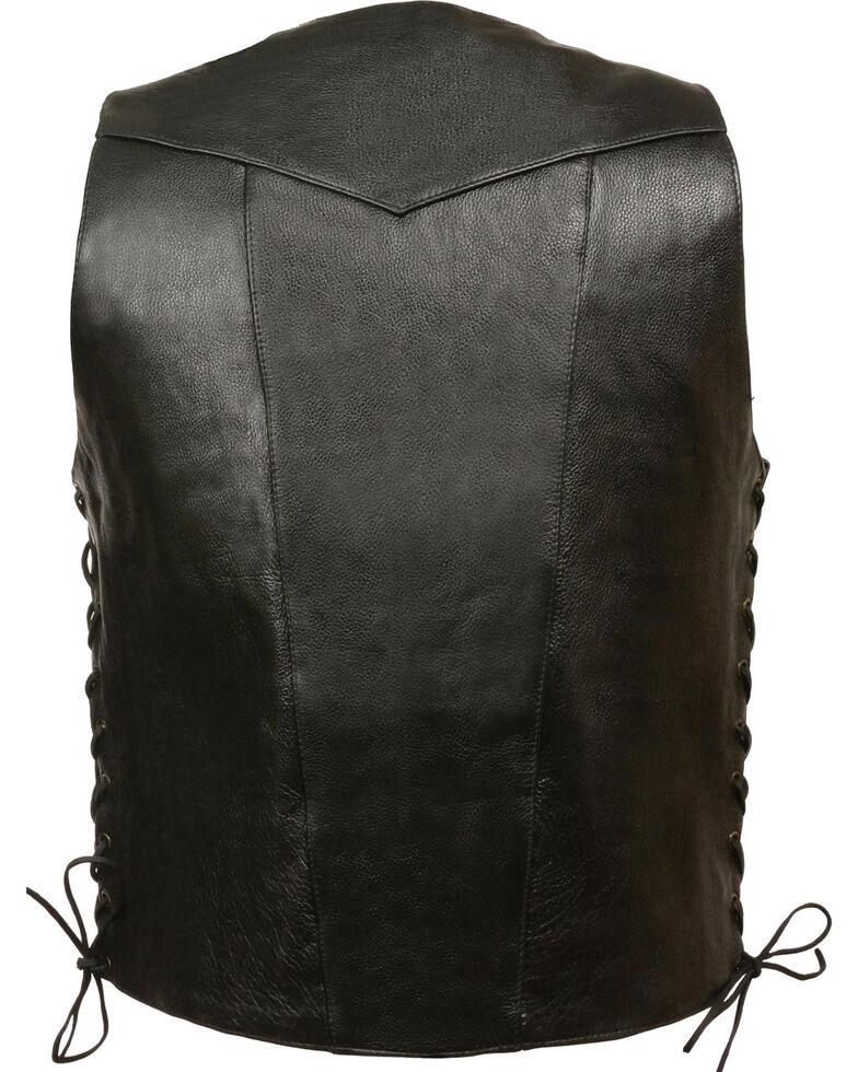Milwaukee Leather Men's 10 Pocket Side Lace Vest - Big, Black, hi-res