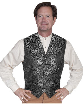 WahMaker Old West by Scully Classic Dragon Vest, Silver, hi-res
