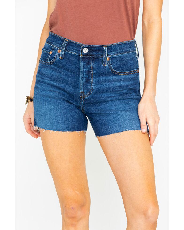 Levis Women's High Rise Outer Core Raw Hem Denim Shorts , Blue, hi-res