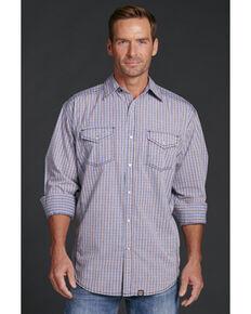 Cowboy Up Men's Plaid Snap Shirt, Blue, hi-res