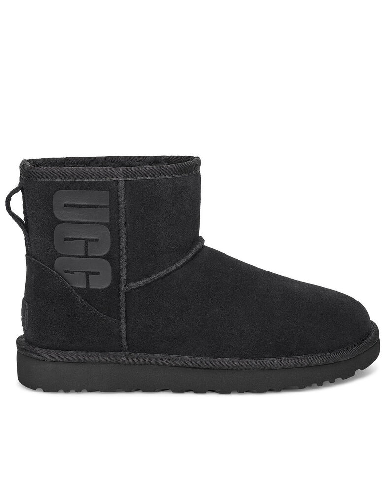 UGG Women's Mini Classic Boots - Round Toe, Black, hi-res