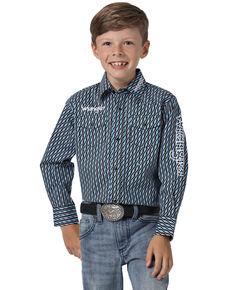 Wrangler Boys' Navy Geo Print Logo Long Sleeve Western Shirt , Navy, hi-res