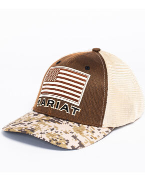 Ariat Men's Digital Camo Patriotic Baseball Cap, Brown, hi-res