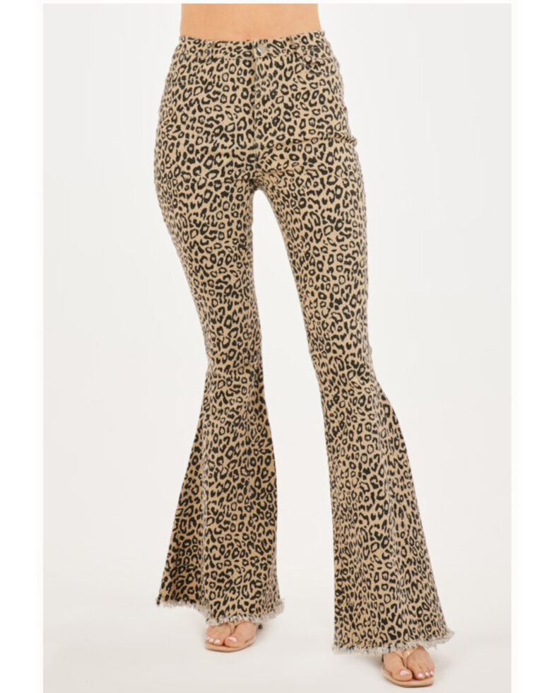 Chrysanthemum Women's Brown Leopard High Rise Flare Jeans , Leopard, hi-res