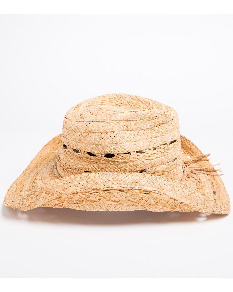 Shyanne Youth Girls' Mallorie Flower Straw Cowgirl Hat, Natural, hi-res